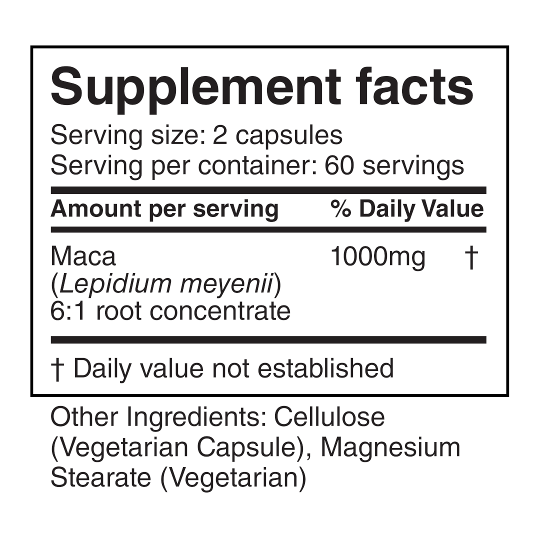 Herbolab - Maca - Supplement Facts 1080