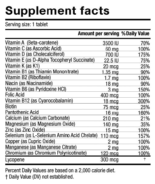 men's one a day multivitamin supplement facts